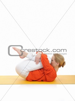 series or yoga photos. young woman doing relaxing exercise