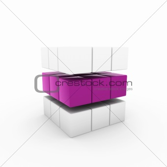3d business cube purple