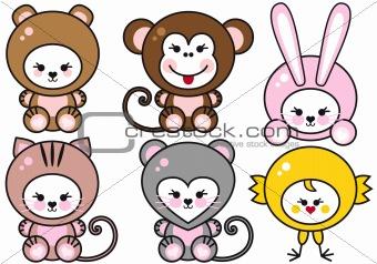 baby animals, vector