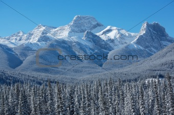 Winter scene of Mount Lougheed