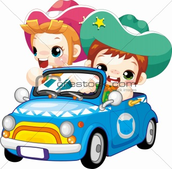 Couple Drive Car Cartoon