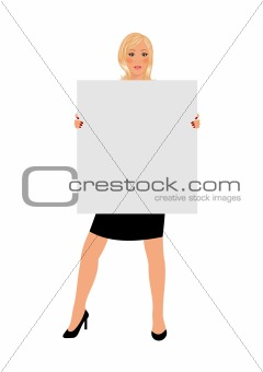 business girl with board isolated