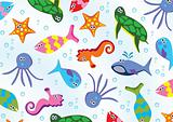 vector sea animals background