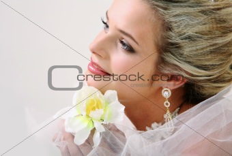 Bride with orchid
