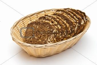 sliced wholemeal bread in wicker