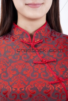 Close up of Chinese girl and traditional clothing  cheongsam
