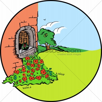 House with tree, flower. Vector