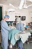 Two surgeons performing operation