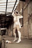 beautiful young girl in white.
