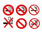 No Smoking Signs collection vector