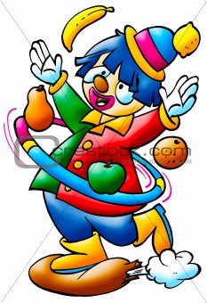 a digitally illustrated colorful and funny clown