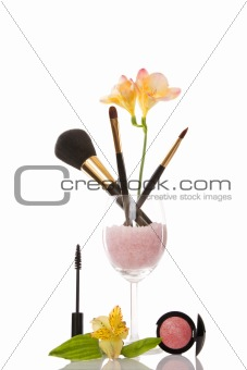 cosmetics and flower, beauty concept
