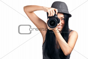 Young asian girl taking a photo