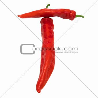 Letter T composed of chili peppers