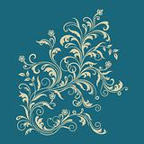 Floral ornament on turquoise background