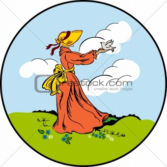 Woman in a hat keeping in a hand a bird. Vector