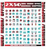 100 red and blue vector environmental icons and design-elements