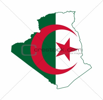 Algeria flag on map