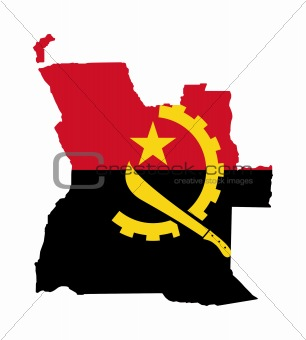 Angola flag on map