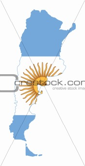 Argentina flag on map