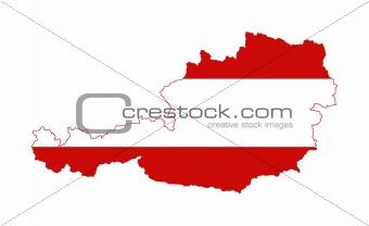 Austria flag on map
