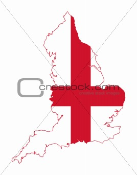 Flag on map of England