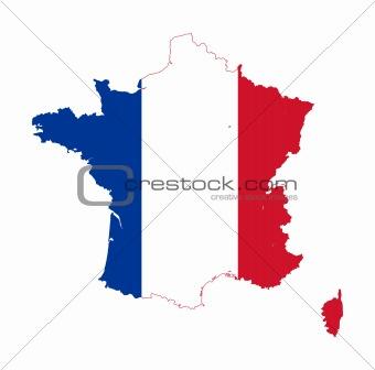 France flag on map