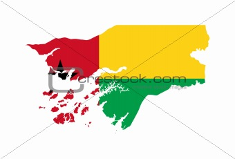 Guinea Bissau flag on map