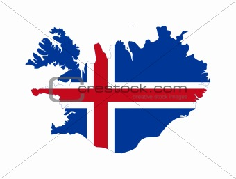Iceland flag on map