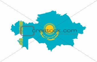 Kazakhstan flag on map
