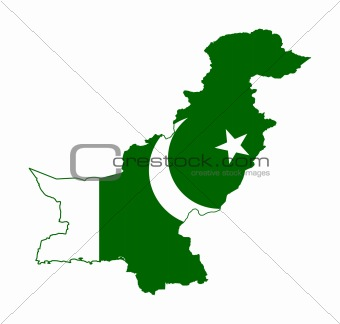 Pakistan flag on map