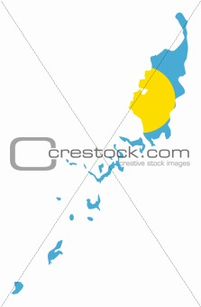Palau Islands flag on map