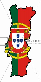 Portugal flag on map