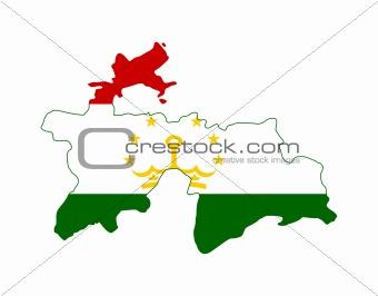 Tajikistan flag on map