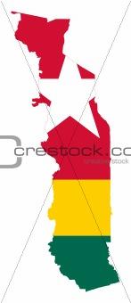 Togo flag on map