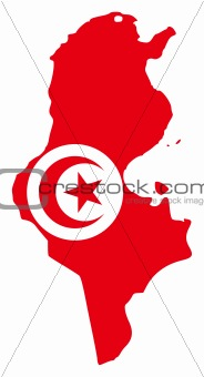 Tunisia flag on map