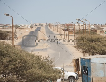 Dual carriageway road in the african desert