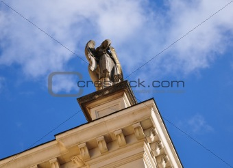 Angel on church Maria Himmelfahrt in Deggendorf, Bavaria
