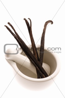 mortar with vanilla pods