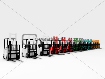 forklifts isolated on white background