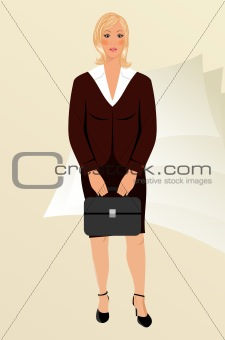 business women with case isolated