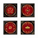 set red gold-framed labels