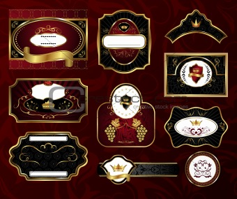 set black gold-framed labels