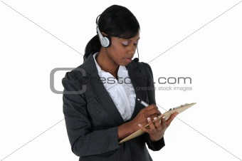 Attractive Business Woman with Headset 03
