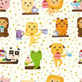 seamless animal tea time pattern