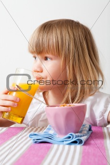 Little girl eating breakfast