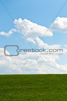 Green Grassy Hill with Blue Sky