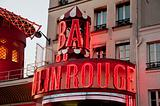 The Moulin Rouge sign in Montmartre Paris