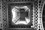 Inner structure of the Eiffel Tower in Paris