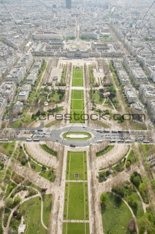 Birdseye view of Paris from Eiffel Tower